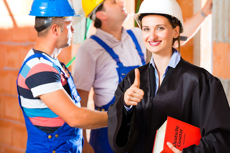 Reviewer or expert or lawyer and builder or worker with helmets